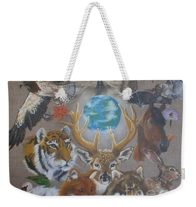 Earth Owl Bat Horse Hare Frog Wolf Deer Fox Swan Tiger Kestrel Spider Drogonfly Butterfly Ladybird Weekender Tote Bag featuring the painting Keepers Of The Realm by Pauline Sharp