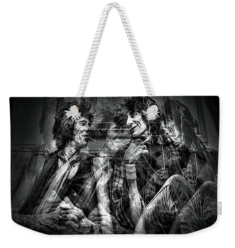Rolling Stones Weekender Tote Bag featuring the photograph Keith And Ronnie 2 by Jeff Watts