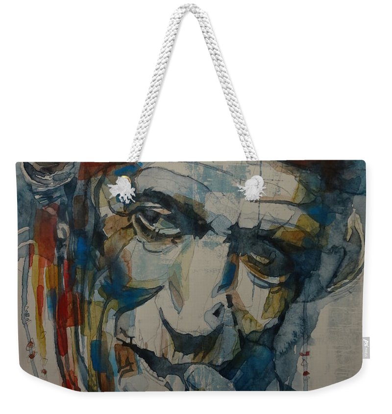 Rolling Stones Weekender Tote Bag featuring the painting Keith Richards Art by Paul Lovering