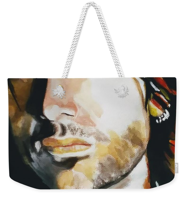 Watercolor Painting Weekender Tote Bag featuring the painting Keith Urban by Chrisann Ellis