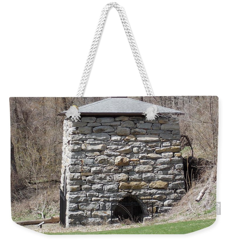 Kent Weekender Tote Bag featuring the photograph Kent Iron Furnace by Catherine Gagne