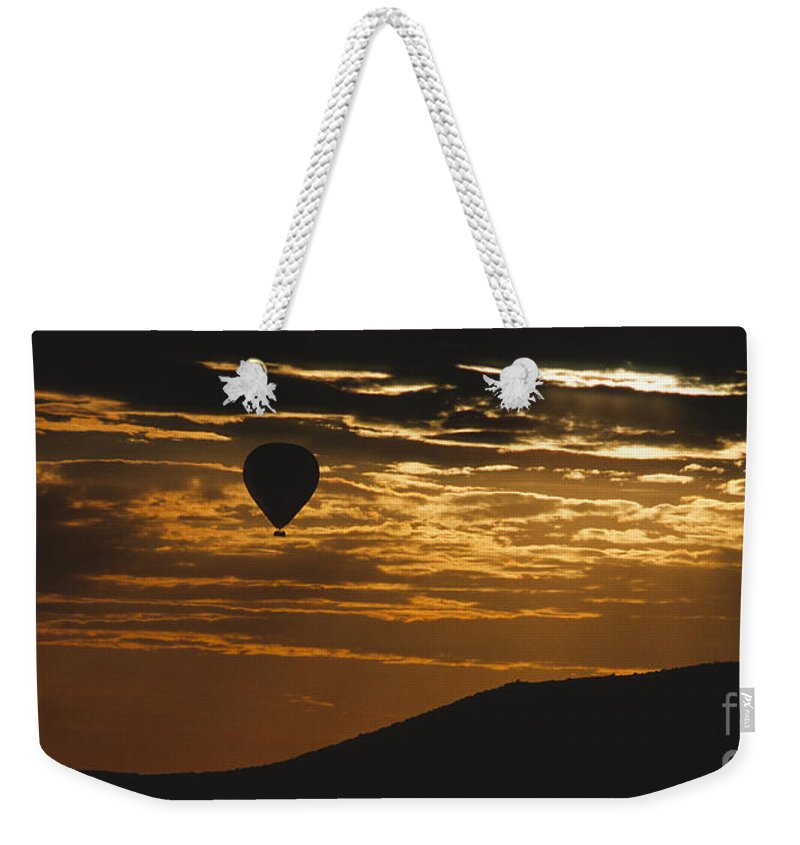 East Africa Weekender Tote Bag featuring the photograph Kenya - Sunrise Ballooning by Sandra Bronstein