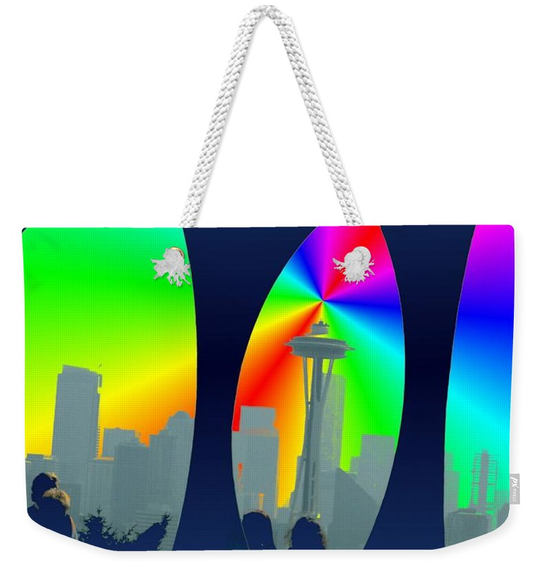 Seattle Weekender Tote Bag featuring the digital art Kerry Needle 3 by Tim Allen