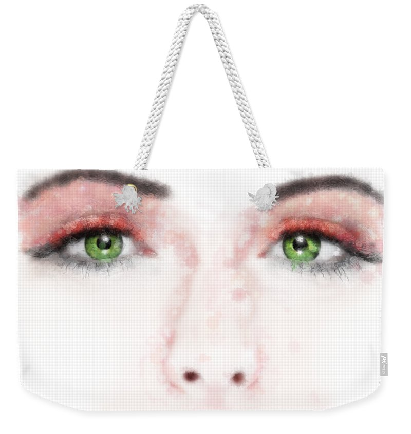 Face Weekender Tote Bag featuring the digital art Kessania - White Face by Cersatti