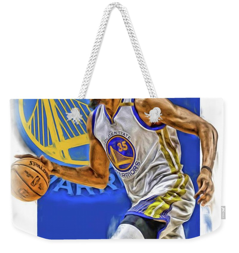 Kevin Durant Weekender Tote Bag featuring the mixed media Kevin Durant Golden State Warriors Oil Art by Joe Hamilton