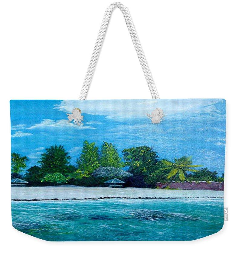 Seascape Weekender Tote Bag featuring the painting Key West Beach by Peter Kulik