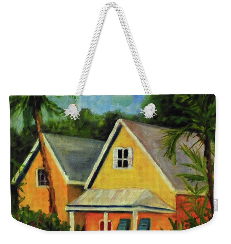 Key Weekender Tote Bag featuring the painting Key West Cottage by Carolyn Shireman