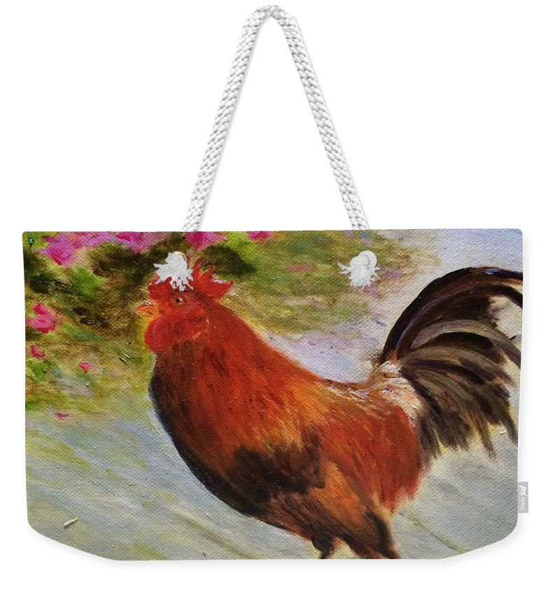 Rooster Weekender Tote Bag featuring the painting Key West Rooster by Paula Emery
