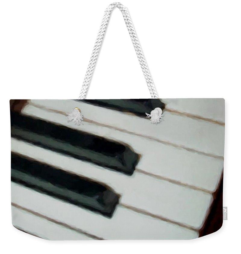 Piano Weekender Tote Bag featuring the digital art Keys Close Up by Anita Burgermeister