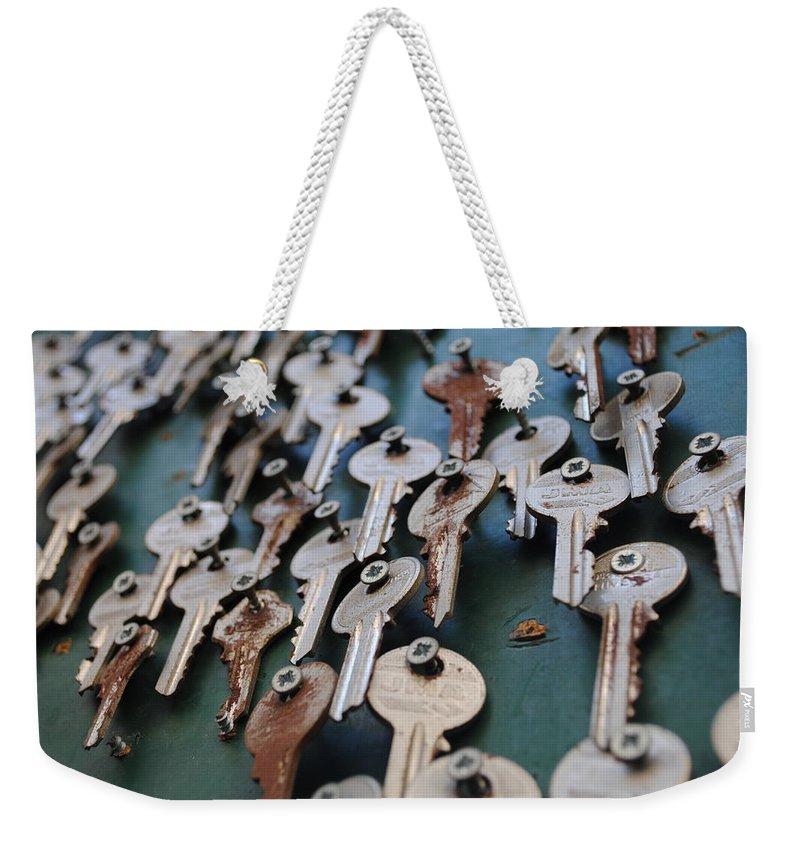 Key Weekender Tote Bag featuring the photograph Keys by Daria Seelig