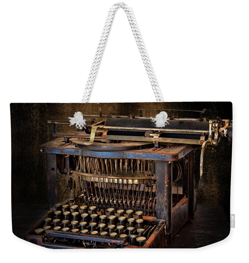 Typewriter Weekender Tote Bag featuring the photograph Keys To Words by David and Carol Kelly