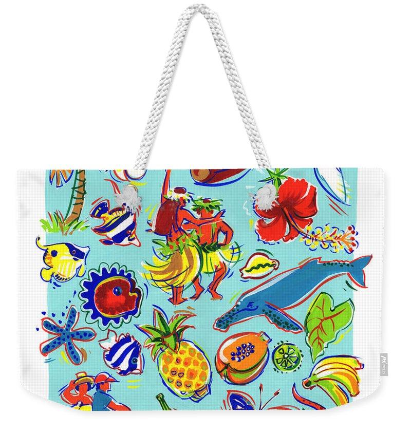 Cook Islands Weekender Tote Bag featuring the painting Kia Orana Cook Islands by Judith Kunzle