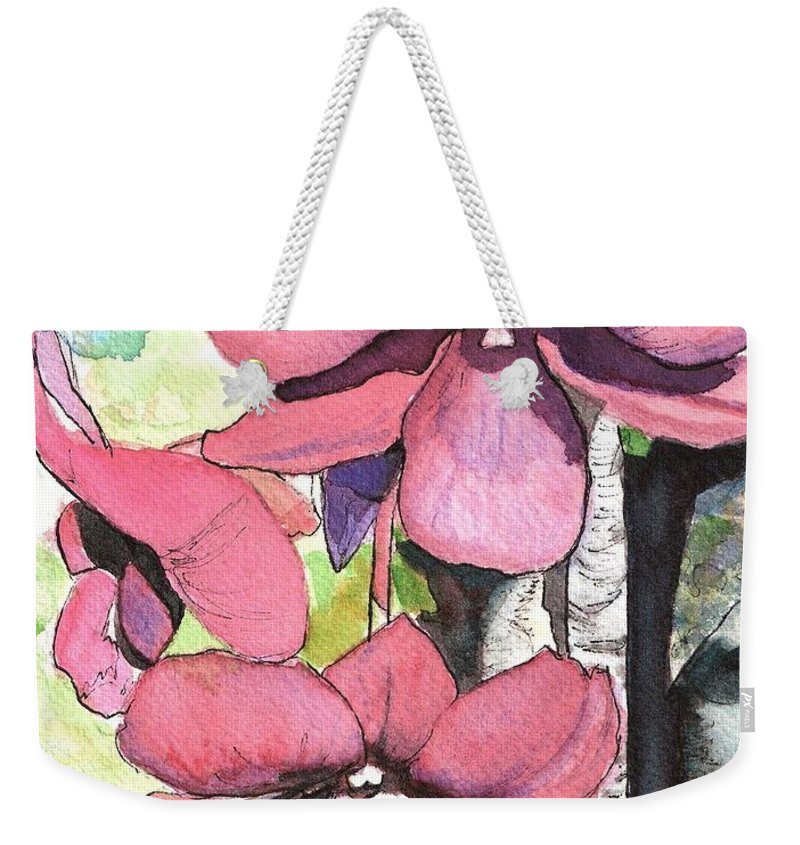 Orchid Weekender Tote Bag featuring the painting Kiahuna Orchids by Marionette Taboniar