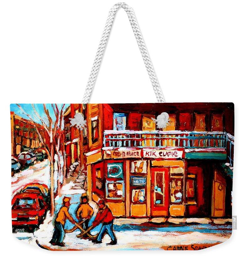 Montreal Streetscene Weekender Tote Bag featuring the painting Kik Cola Depanneur by Carole Spandau