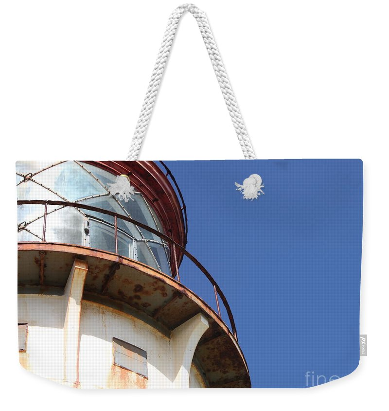 Kilauea Weekender Tote Bag featuring the photograph Kilauea Lighthouse Against The Sky by Nadine Rippelmeyer