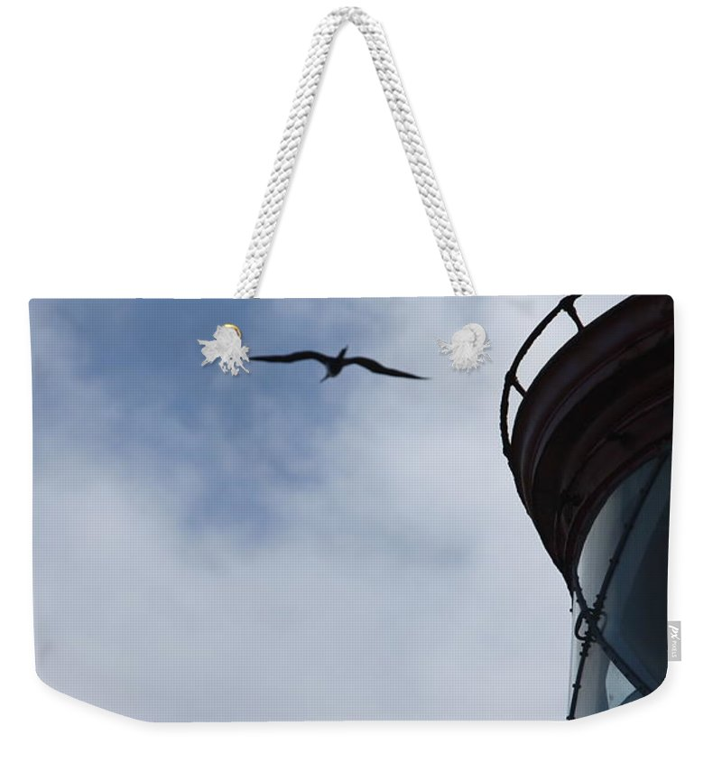 Kilauea Weekender Tote Bag featuring the photograph Kilauea Lighthouse And Bird by Nadine Rippelmeyer
