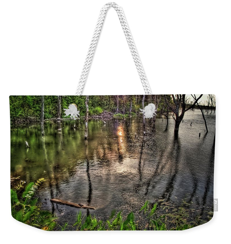 Hdr Weekender Tote Bag featuring the photograph Kill Creek 8283 by Timothy Bischoff