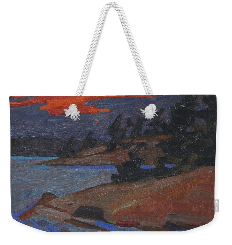 2002 Weekender Tote Bag featuring the painting Killbear Flagged Pines At Sunset by Phil Chadwick