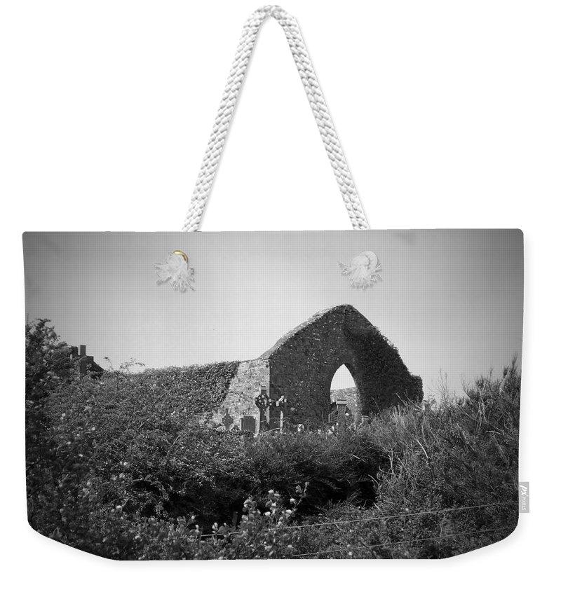 Irish Weekender Tote Bag featuring the photograph Kilmanaheen Church Ruins Ennistymon Ireland by Teresa Mucha