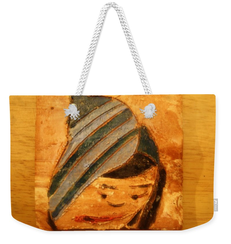 Jesus Weekender Tote Bag featuring the ceramic art Kim - Tile by Gloria Ssali