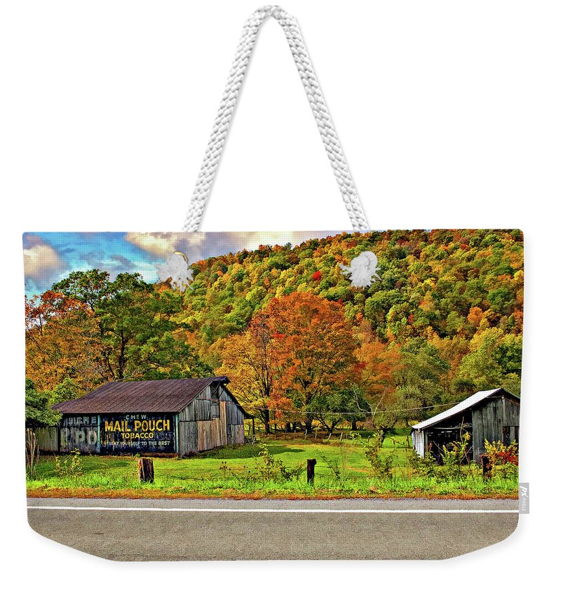 West Virginia Weekender Tote Bag featuring the photograph Kindred Barns by Steve Harrington