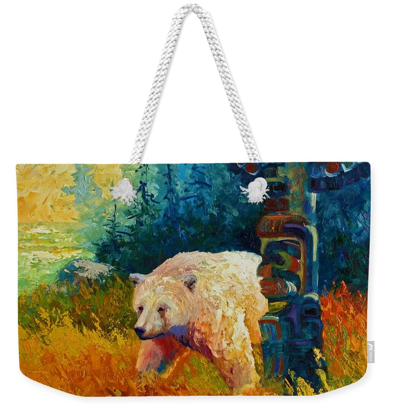 Western Weekender Tote Bag featuring the painting Kindred Spirits - Kermode Spirit Bear by Marion Rose