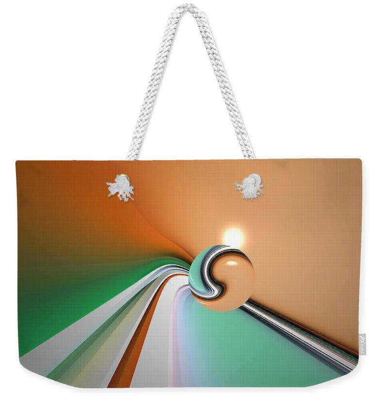 Abstract Weekender Tote Bag featuring the digital art Kinfluxing by Andrew Kotlinski