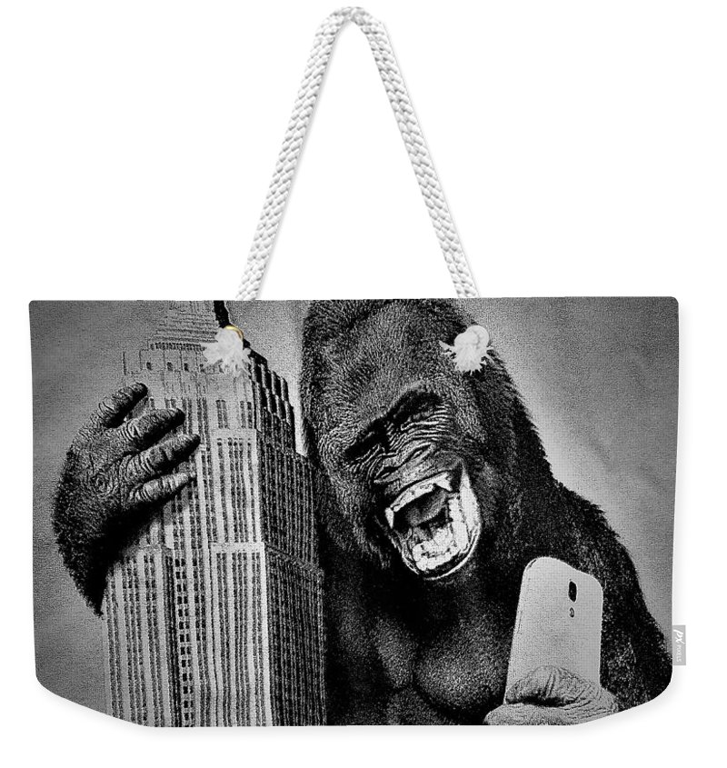 Architecture Weekender Tote Bag featuring the photograph King Kong Selfie B W by Rob Hans