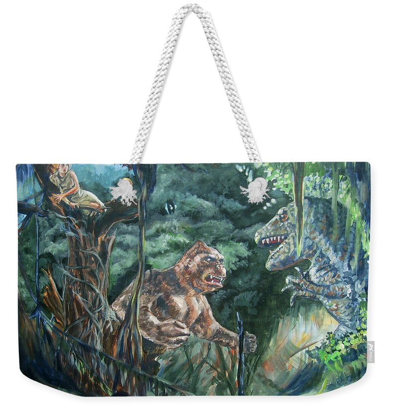 King Kong Weekender Tote Bag featuring the painting King Kong Vs T-rex by Bryan Bustard