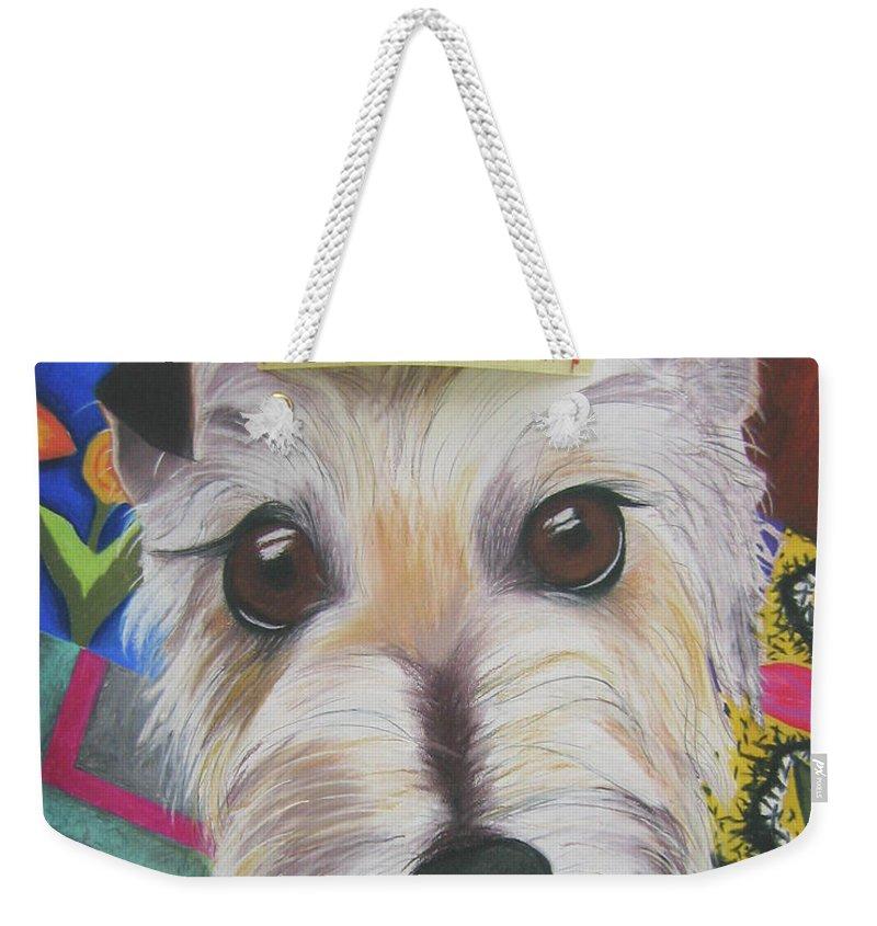 Dog Weekender Tote Bag featuring the pastel King Louie by Michelle Hayden-Marsan