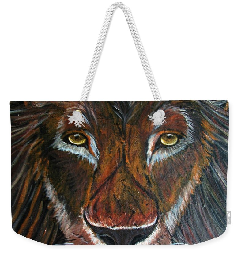 Lion Weekender Tote Bag featuring the painting King by Nick Gustafson