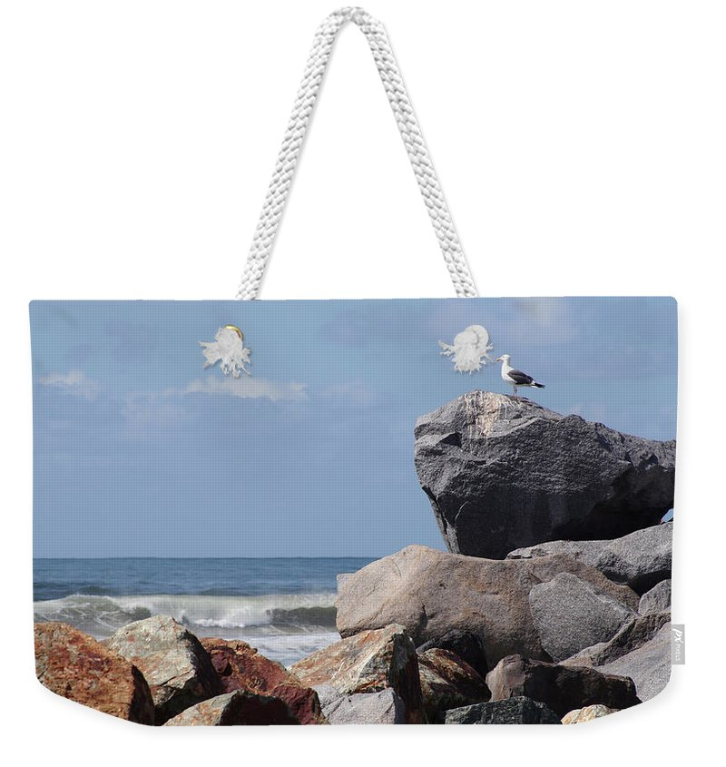 Beach Weekender Tote Bag featuring the photograph King Of The Rocks by Margie Wildblood