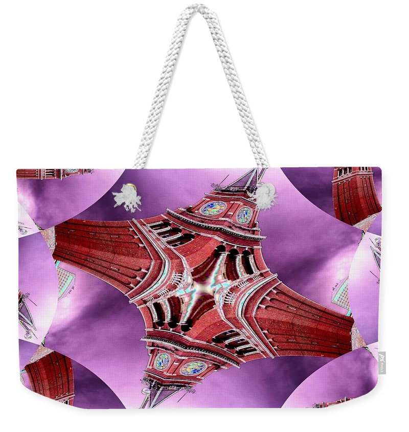 Seattle Weekender Tote Bag featuring the digital art King Street Station In Fractal by Tim Allen