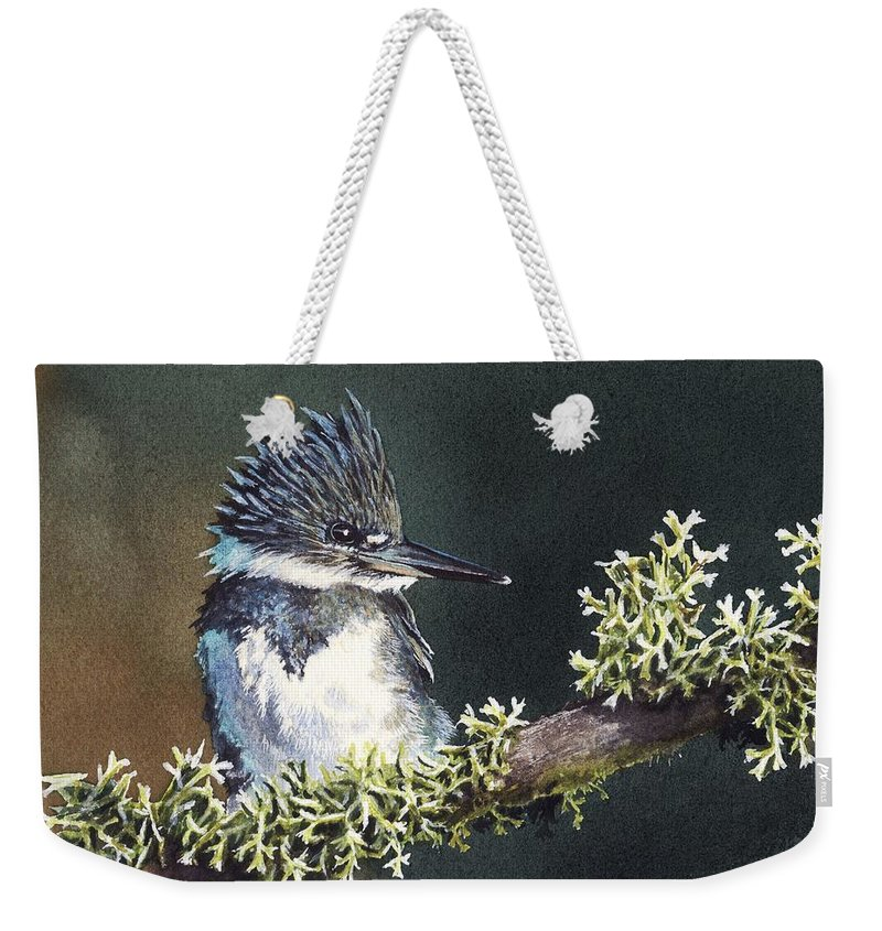 Bird Weekender Tote Bag featuring the painting Kingfisher II by Greg and Linda Halom