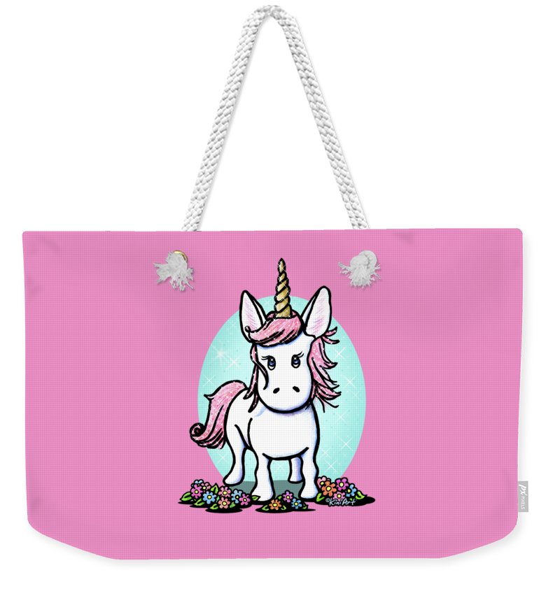 Unicorn Weekender Tote Bag featuring the drawing Kiniart Unicorn Sparkle by Kim Niles