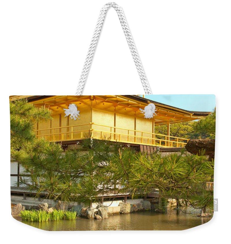 Japan Weekender Tote Bag featuring the photograph Kinkakuji Golden Pavilion Kyoto by Sebastian Musial