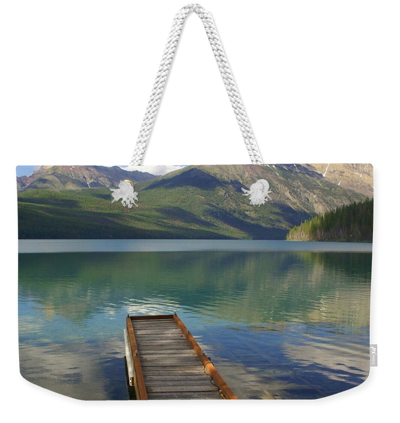 Glacier National Park Weekender Tote Bag featuring the photograph Kintla Lake Dock by Marty Koch