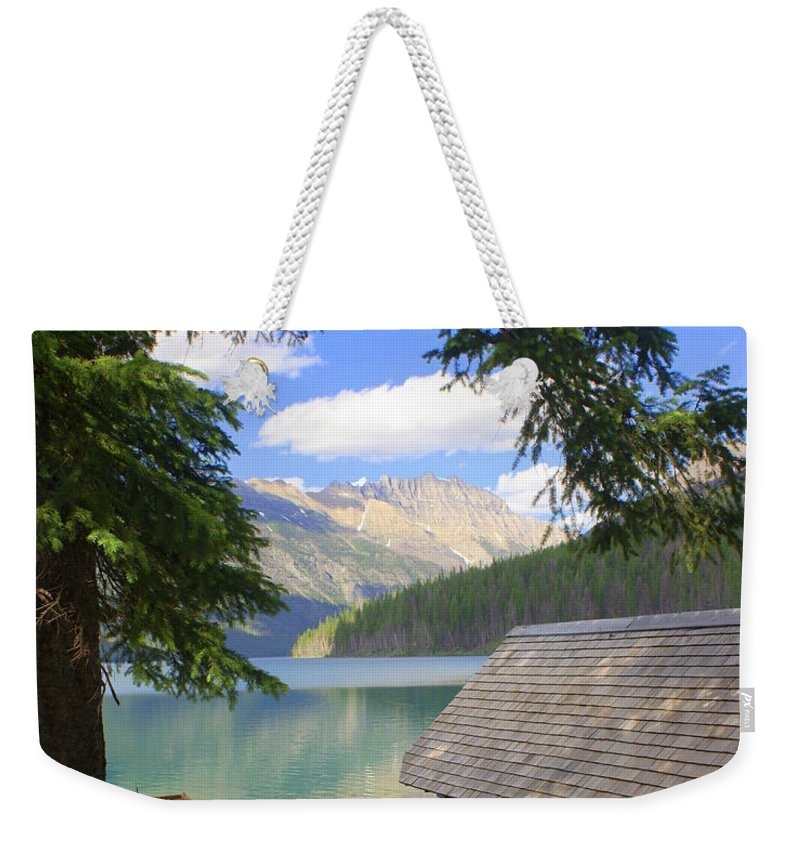 Glacier National Park Weekender Tote Bag featuring the photograph Kintla Lake Ranger Station Glacier National Park by Marty Koch