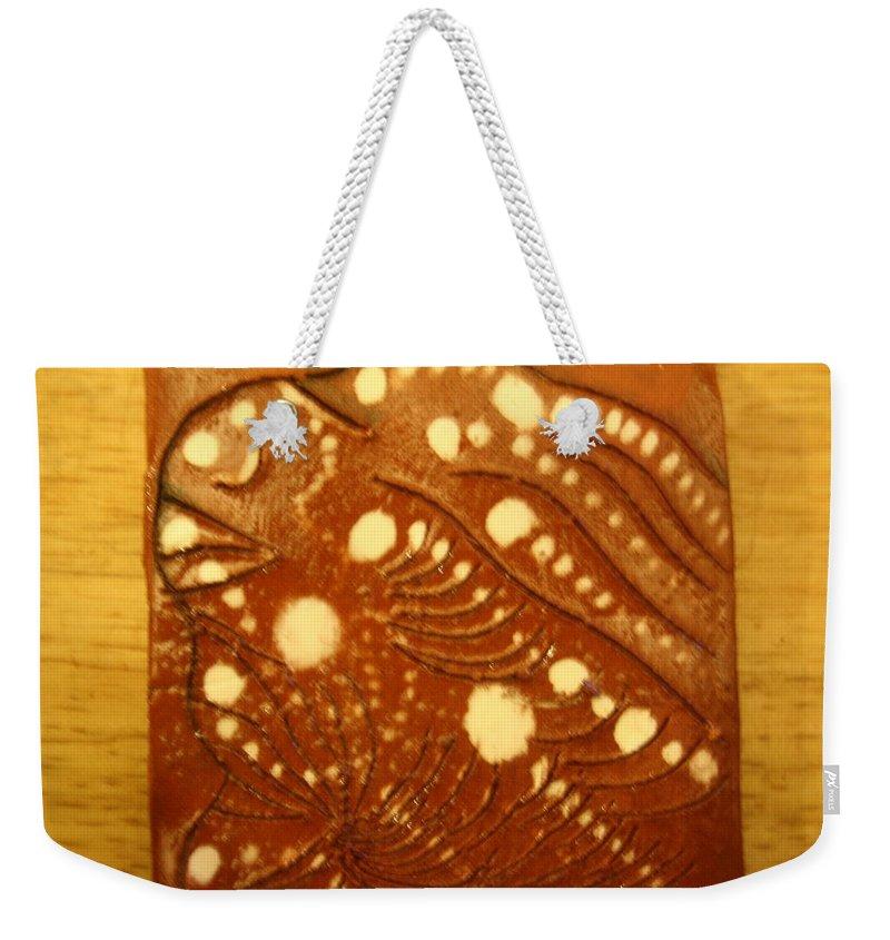 Jesus Weekender Tote Bag featuring the ceramic art Kirabo - Tile by Gloria Ssali