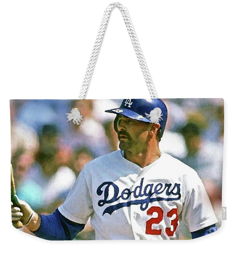 Kirk Gibson Weekender Tote Bag featuring the mixed media Kirk Gibson, Los Angeles Dodgers by Thomas Pollart