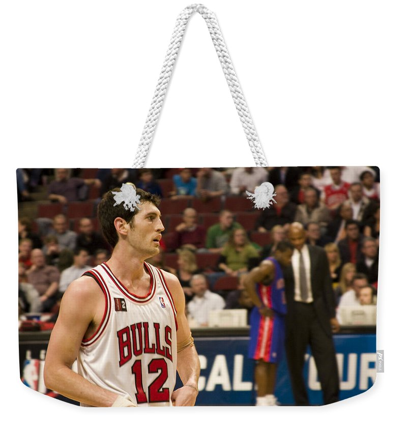 Chicago Windy City Bulls Basketball Nba Kirk Hinrich 12 Game United Center Home Weekender Tote Bag featuring the photograph Kirk Hinrich by Andrei Shliakhau