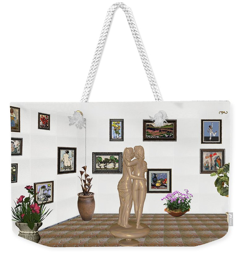 Modern Painting Weekender Tote Bag featuring the mixed media Kiss 3 by Pemaro