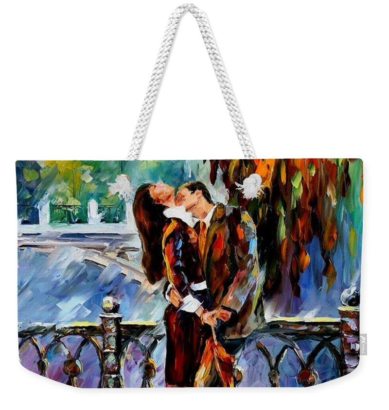 Afremov Weekender Tote Bag featuring the painting Kiss After The Rain by Leonid Afremov