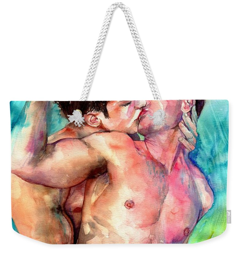 Love Weekender Tote Bag featuring the painting Kiss In The Light by Suzann Sines
