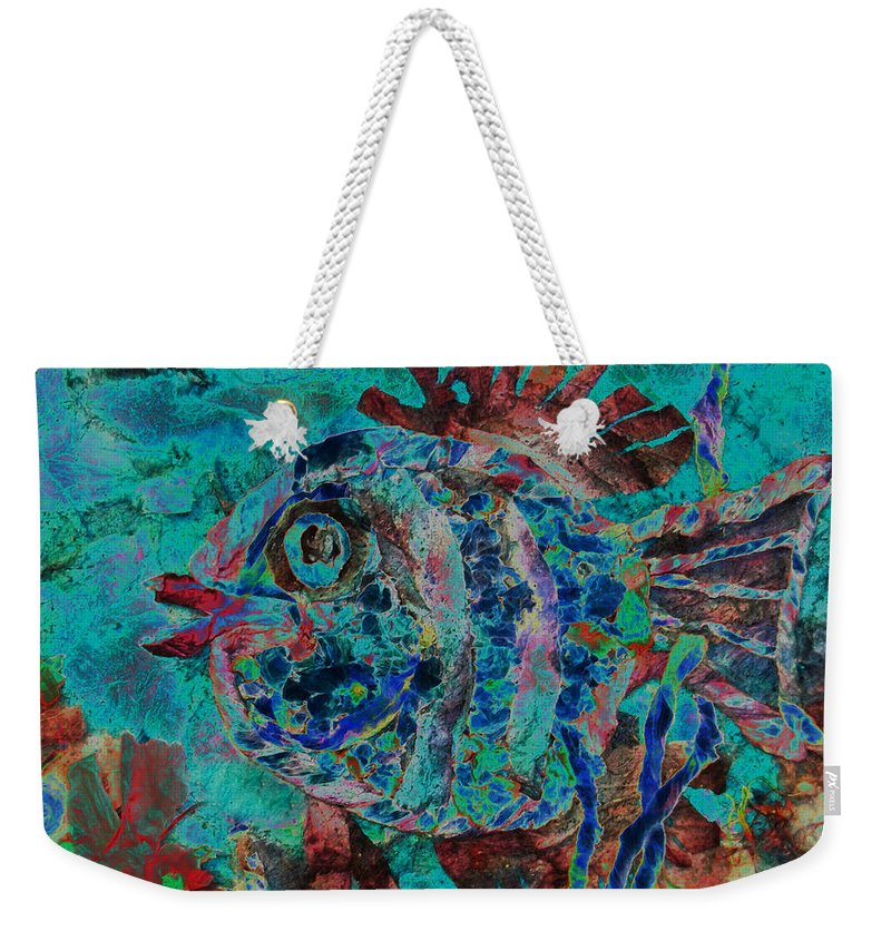 Fish Weekender Tote Bag featuring the mixed media Kiss Me by Sue Duda