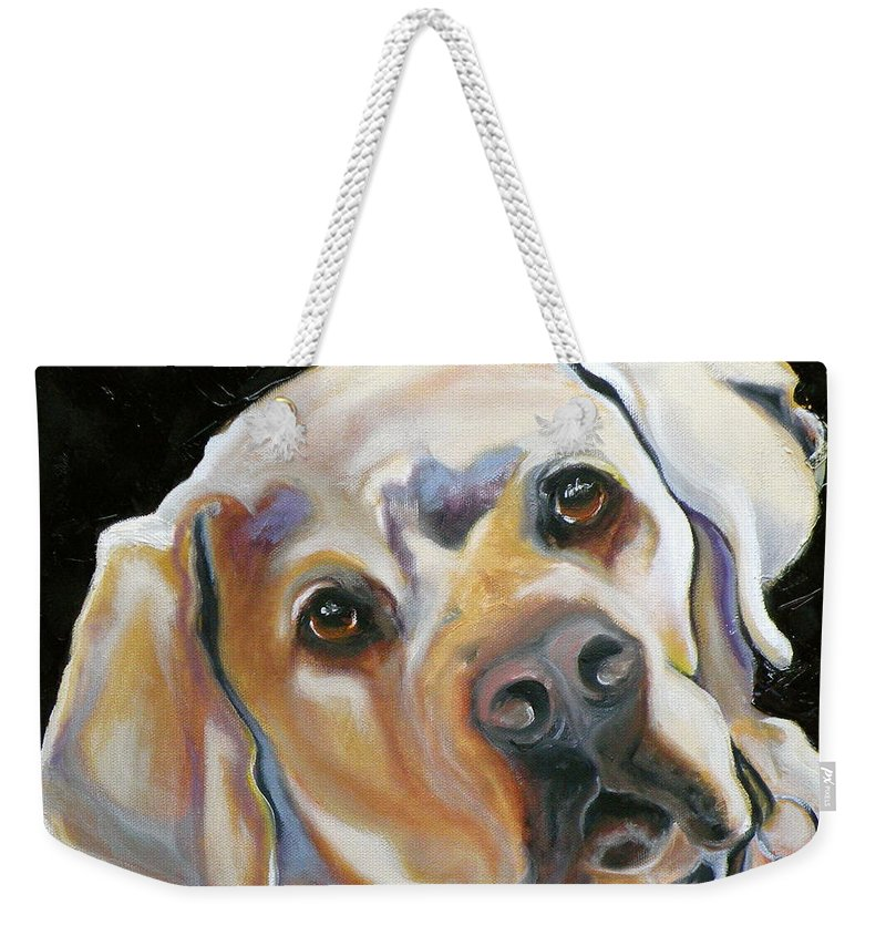 Yellow Lab Paintings Weekender Tote Bag featuring the painting Kissably Close Lab by Susan A Becker