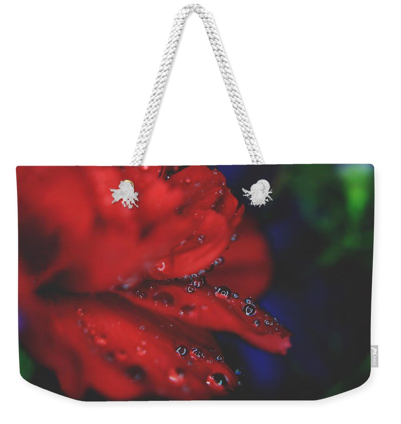Flowers Weekender Tote Bag featuring the photograph Kisses In The Rain by Laurie Search