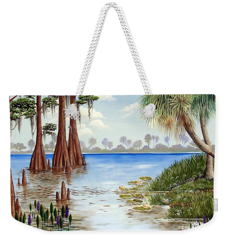 Nature Weekender Tote Bag featuring the painting Kissimee River Shore by Monica Turner