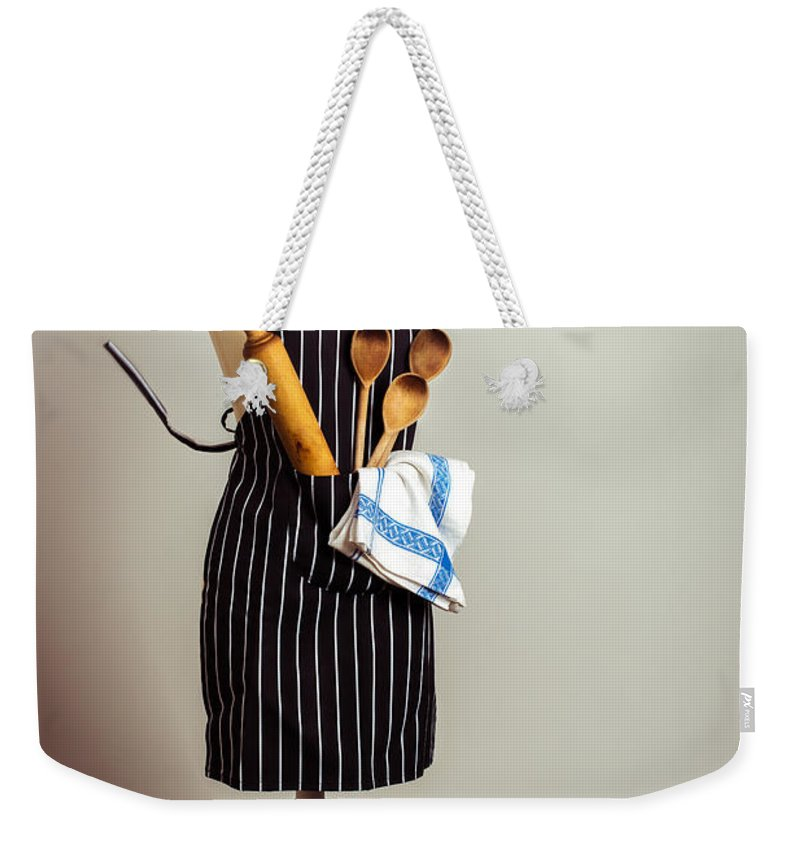 Baking Weekender Tote Bag featuring the photograph Kitchen Apron by Amanda Elwell