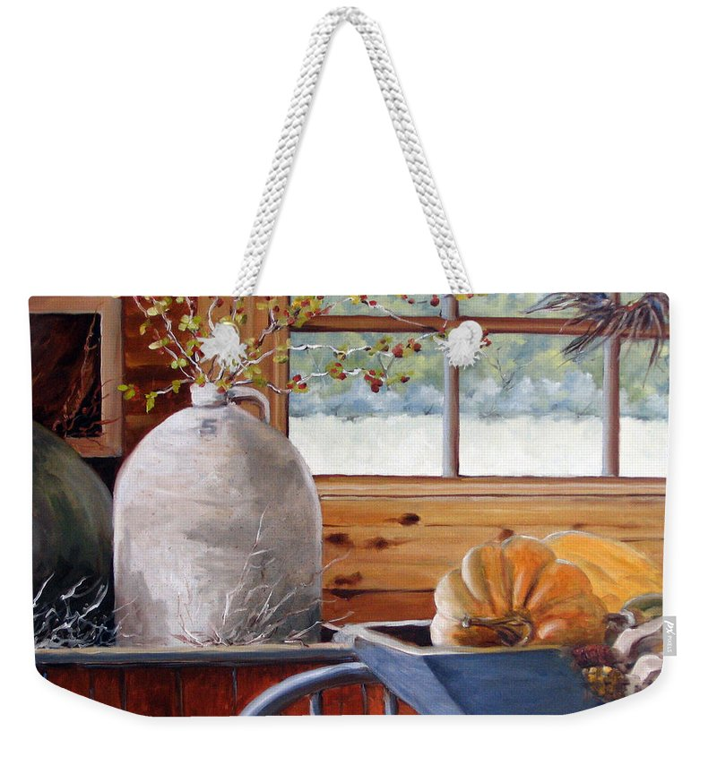 Kitchen Weekender Tote Bag featuring the painting Kitchen Scene by Richard T Pranke